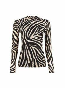 Womens Multi Colour Zebra Print Mesh High Neck Top- Black, Black