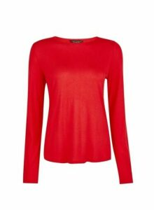 Womens Red Long Sleeve T-Shirt, Red