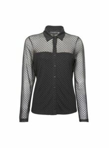 Womens Black Flocked Spot Mesh Shirt, Black
