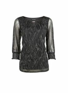 Womens **Billie & Blossom Black Wave Trim Blouse, Black