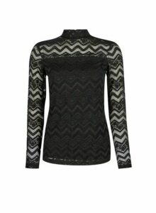 Womens Black Zig Zag Lace Top, Black