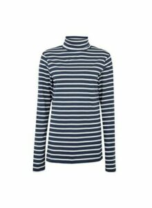 Womens **Tall Navy Stripe Print High Neck Cotton Top- Blue, Blue