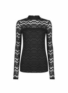 Womens Tall Black Zig Zag Lace Top, Black
