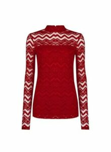Womens Tall Berry Red Zig Zag Lace Top, Red
