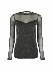Womens **Tall Black Glitter Mesh Top, Black