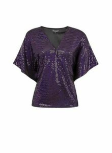 Womens **Billie & Blossom Purple Foil Batwing Top, Purple
