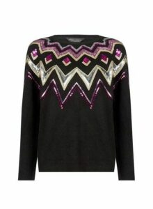 Womens Black Sequin Fairisle Pattern Jumper, Black