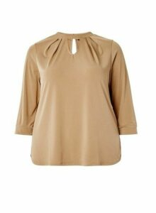 Womens **Dp Curve Camel Pleat Neck Top- White, White