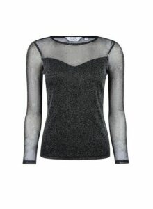 Womens Petite Charcoal Mesh Top- Grey, Grey