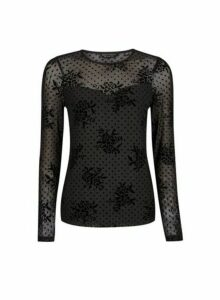 Womens Black Floral Spot Mesh Top, Black