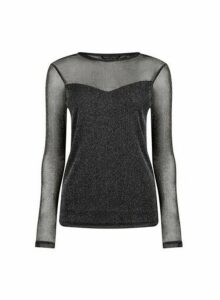 Womens Black Glitter Mesh Long Sleeve Top, Black