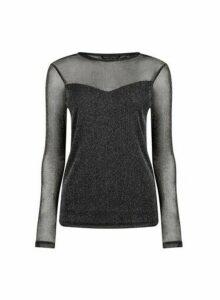 Womens Black Glitter Mesh Long Sleeve Top, Black