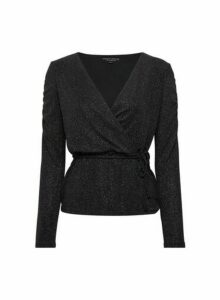 Womens **Black Ruched Sleeve Wrap Top, Black