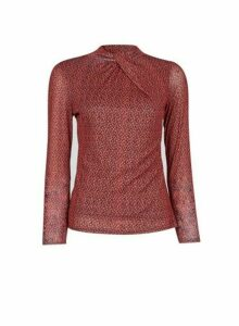 Womens Petite Red Twist Neck Mesh Top, Red