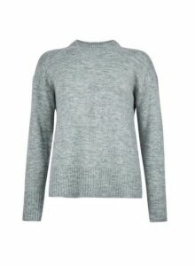 Womens Light Grey Spandex Crew Neck Jumper, Grey
