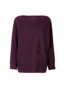 Womens Berry Ribbed Batwing Sleeve Jumper- Red, Red