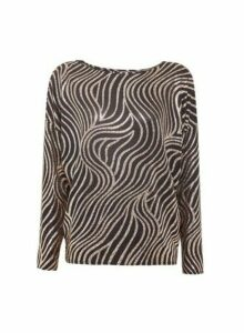 Womens Bronze Swirl Print Batwing Top- Brown, Brown