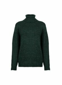 Womens Green Boucle Roll Neck Jumper, Green