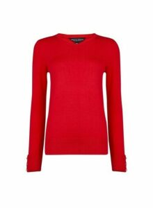 Womens Red Button Cuff Crew Neck Jumper, Red