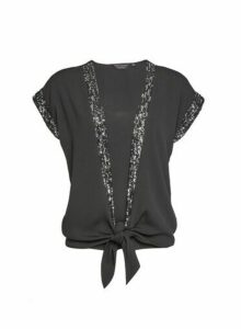 Womens Black Sequin Trim 2-In-1 Top, Black