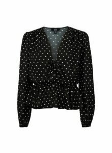 Womens **Lola Skye Black Star Print Tie Top, Black