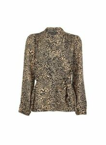 Womens Black Animal Print Wrap Top, Black