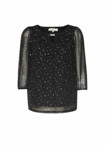 Womens **Billie & Blossom Petite Black Spot Print Trim Blouse, Black
