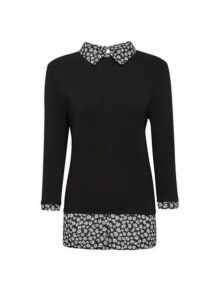 Womens Black Daisy Print 2-In-1 Top, Black