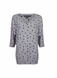 Womens Grey Spot Print V-Neck Brushed Tunic Jumper, Grey