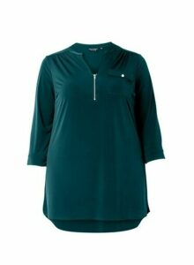 Womens **Dp Curve Teal Tunic Top- Blue, Blue