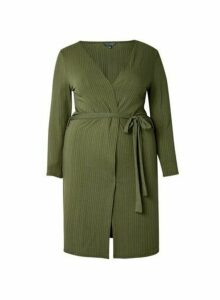 Womens **Dp Curve Khaki Ribbed Cardigan- Green, Green