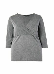 Womens **Dp Curve Charcoal Wrap Top- Grey, Grey