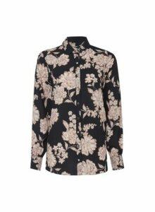 Womens Black Foil Floral Print Shirt, Black