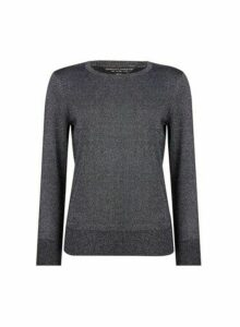 Womens Pewter Crew Neck Jumper- Grey, Grey