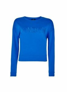 Womens **Lola Skye Blue London Embroidered Cotton Sweatshirt, Blue