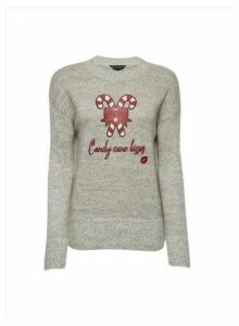 Womens Grey Candy Cane Kisses Jumper, Grey