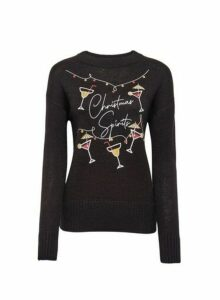 Womens Black Christmas Spirits Jumper, Black