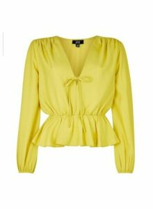 Womens Lola Skye Yellow Front Tie Top - Green, Green