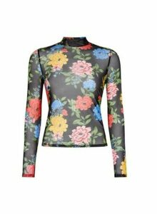 Womens Lola Skye Black Floral Mesh Top - Multi, Multi