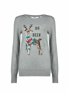 Womens Tall Grey Oh Deer Christmas Jumper, Grey