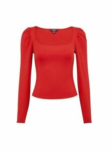 Womens **Lola Skye Red Puff Shoulder Top, Red