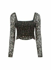 Womens **Lola Skye Black Floral Print Scarlett Lace Top, Black