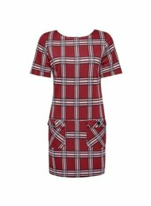 Womens Red Check Tunic Top, Red