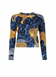 Womens Lola Skye Multi Colour Animal Print Cotton Sweatshirt, Animal
