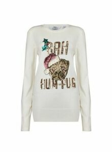 Womens **Tall Ivory Bah Hum Pug Christmas Jumper, Ivory