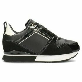 Tommy Hilfiger  Leather Wedge  women's Shoes (Trainers) in Black