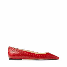MIRELE FLAT Red Croc-Embossed Leather Flats with JC Emblem