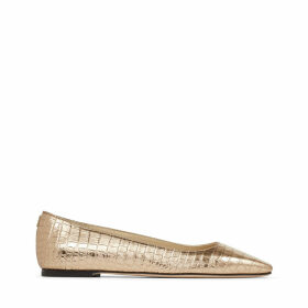 MIRELE FLAT Metallic Light Gold Croc-Embossed Leather Flats with JC emblem