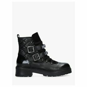 Carvela Treasure Embellished Leather Biker Boots, Black