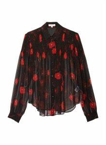 'Jaslyn' floral print oversized silk shirt